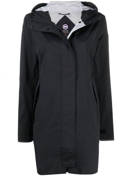 Нейлоновое черное пальто классическое с капюшоном Canada Goose