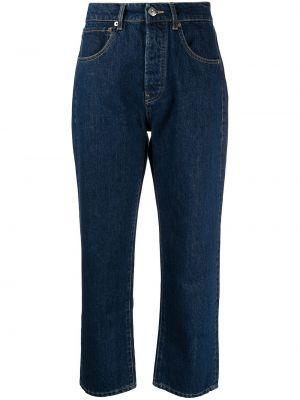 Хлопковые синие прямые укороченные джинсы 3x1
