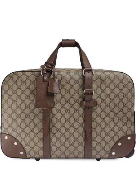 Bawełna beżowy walizka z prawdziwej skóry z kieszeniami Gucci
