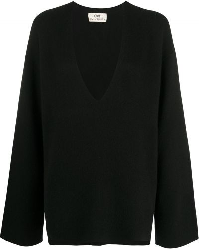 Кашемировый черный джемпер с V-образным вырезом оверсайз Sminfinity