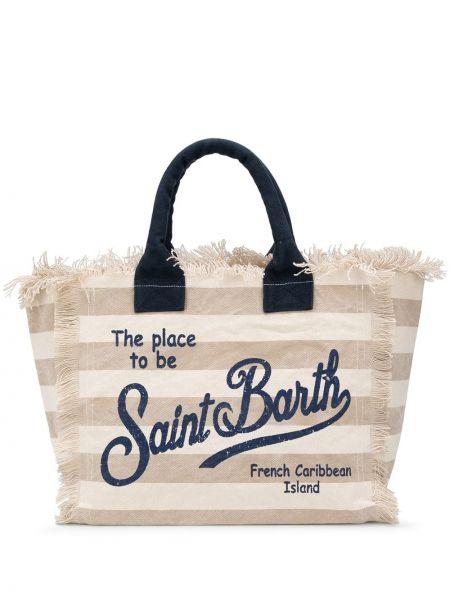 Хлопковая сумка-тоут в полоску Mc2 Saint Barth