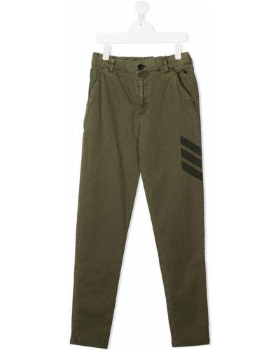 Хлопковые зеленые брюки с поясом на молнии Zadig & Voltaire Kids