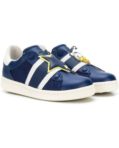 Кожаные синие кроссовки эластичные без застежки Master Of Arts Kids