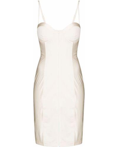 Приталенное белое платье мини в полоску Adidas