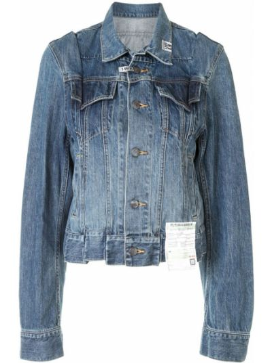 Синяя джинсовая куртка с поясом с воротником Maison Mihara Yasuhiro