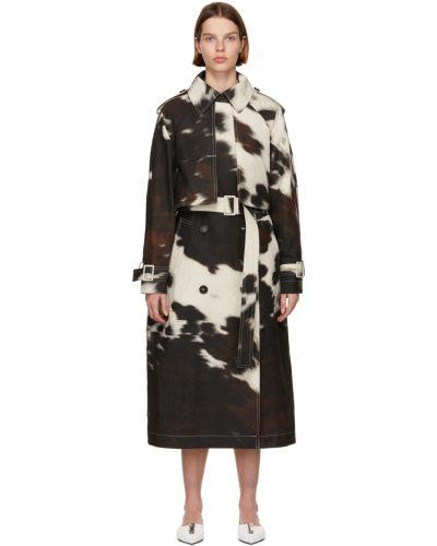 Czarny długi płaszcz z paskiem bawełniany Stella Mccartney