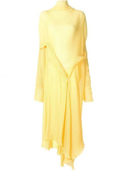Желтое расклешенное платье макси с длинными рукавами с вырезом Litkovskaya