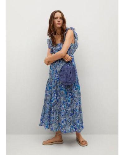 Прямое синее платье миди без рукавов Mango