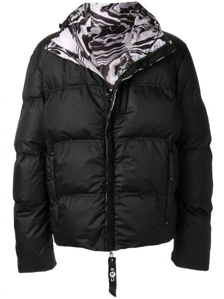 С рукавами черная куртка с капюшоном на молнии с карманами Kru