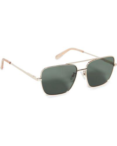 Мягкие солнцезащитные очки золотые металлические Le Specs
