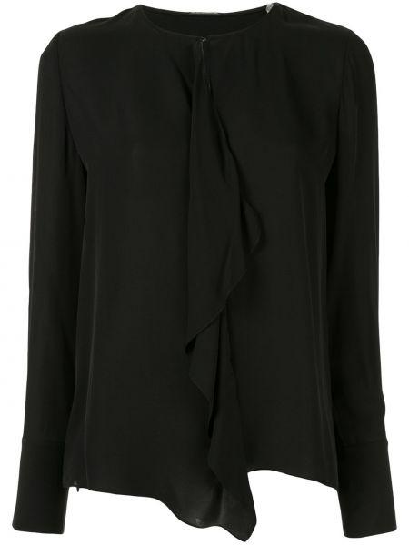 Czarna bluzka z długimi rękawami z jedwabiu Elie Tahari