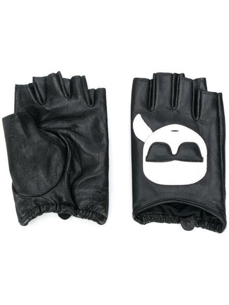 Czarne rękawiczki skorzane Karl Lagerfeld