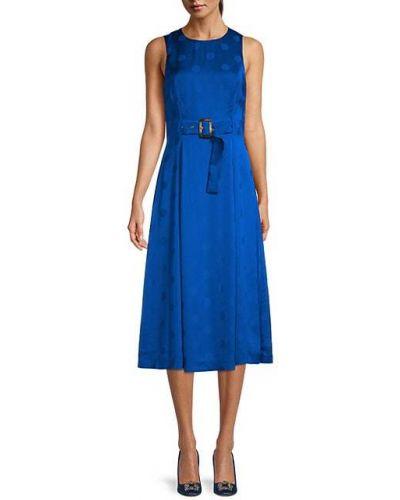 Синее вечернее платье в горошек с поясом Ted Baker London