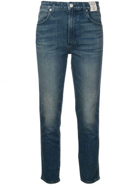 Хлопковые синие укороченные джинсы на пуговицах в стиле бохо Amo