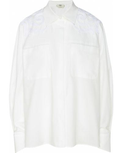 Рубашка белая с вышивкой Fendi