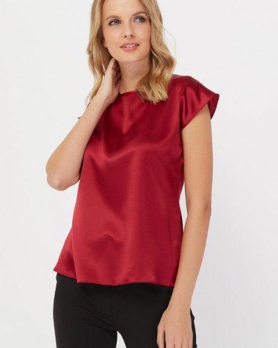 Блузка с коротким рукавом шелковая бордовый Silk Me