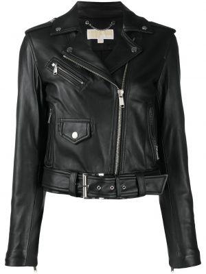 Черная кожаная короткая куртка на молнии Michael Michael Kors