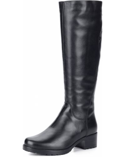 Черные сапоги на каблуке из натуральной кожи Francesco Donni