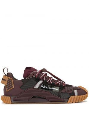 Фиолетовые кожаные кроссовки на шнуровке Dolce & Gabbana