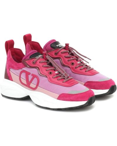 Повседневные текстильные розовые кожаные кроссовки с вышивкой Valentino Garavani