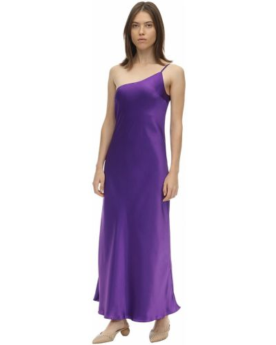 Fioletowa satynowa sukienka midi rozkloszowana Lesyanebo