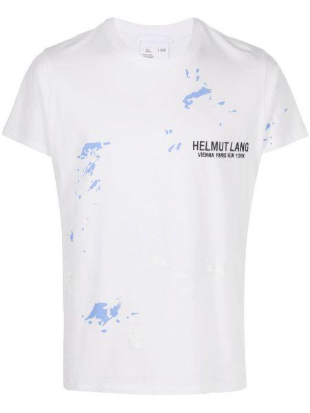 Koszula krótkie z krótkim rękawem prosto z nadrukiem Helmut Lang