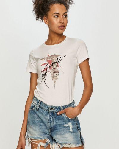 Biały top bawełniany na co dzień Trussardi Jeans