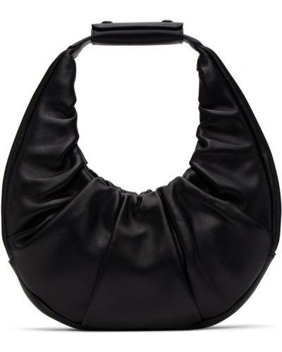 Замшевая мягкая черная кожаная сумка с тиснением Staud