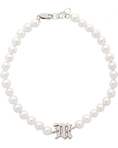Czarny naszyjnik perły srebrny Misbhv