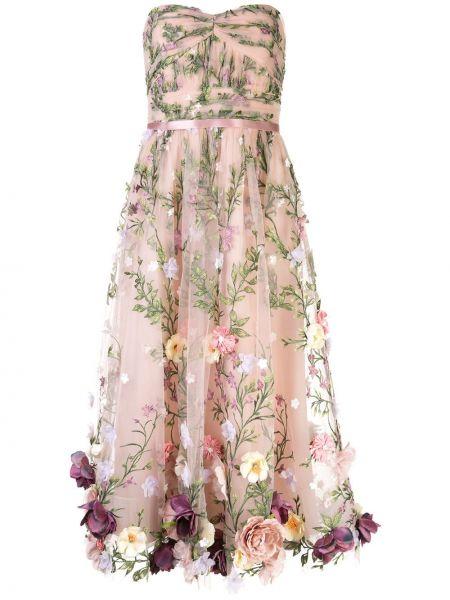 Вечернее платье миди с цветочным принтом Marchesa Notte