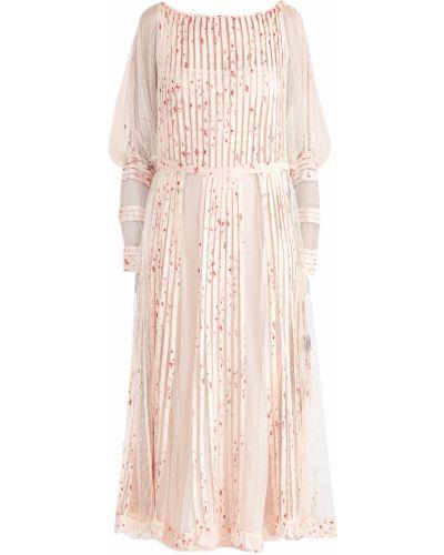 Платье миди розовое с цветочным принтом Redvalentino