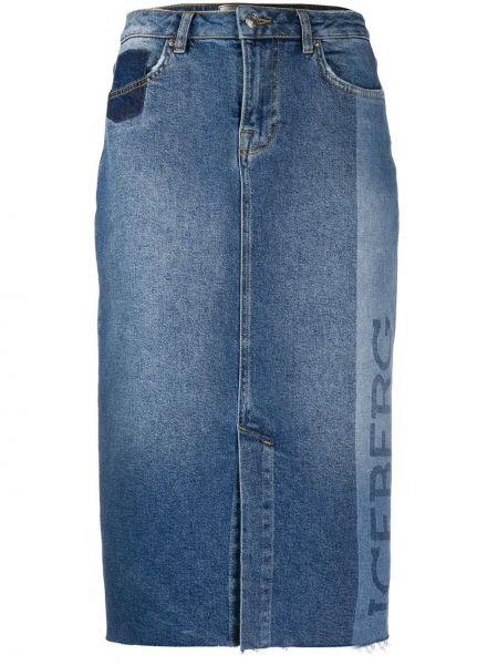 Джинсовая юбка карандаш синяя Iceberg