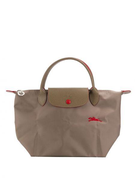 Серая сумка-тоут с вышивкой Longchamp