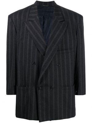 Синий пиджак с карманами на пуговицах с лацканами Versace Pre-owned