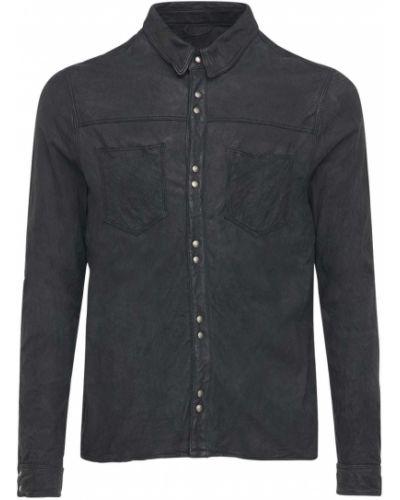 Czarna koszula skórzana Giorgio Brato