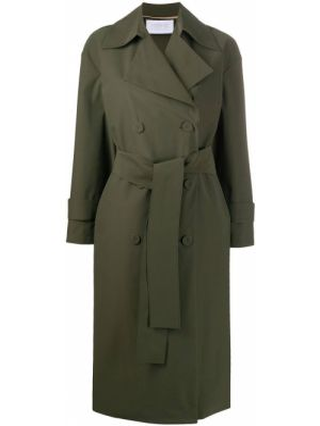 Длинное пальто оверсайз зеленое Harris Wharf London