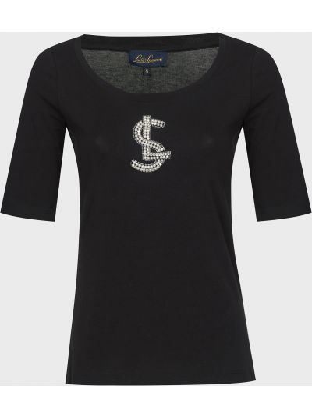Хлопковая черная футболка с камнями Luisa Spagnoli
