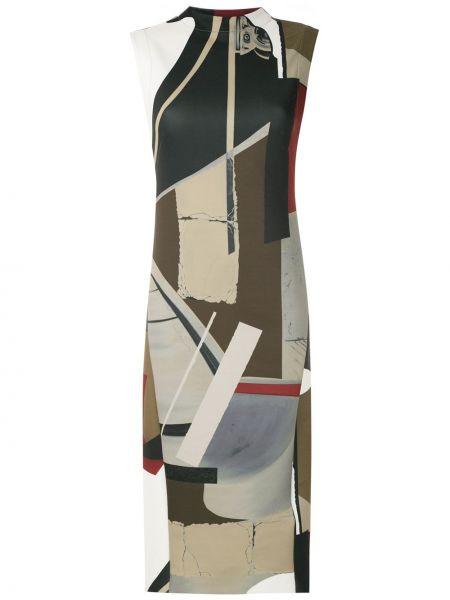 Платье миди с рисунком без рукавов с вырезом круглое Osklen