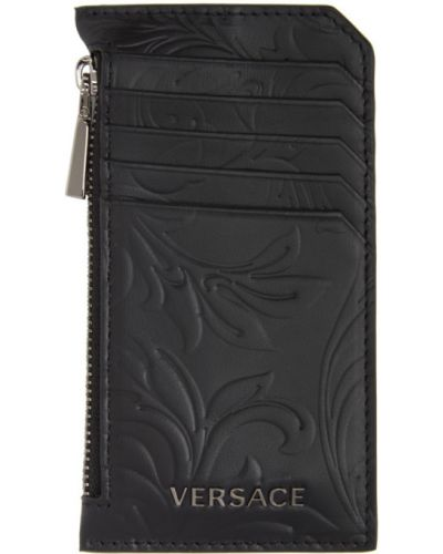 Текстильная черная ключница с подкладкой со шлицей Versace