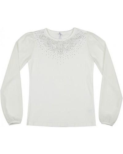 Хлопковая школьная блуза с аппликациями с длинными рукавами Luminoso