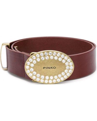 Золотистый коричневый кожаный ремень с пряжкой Pinko