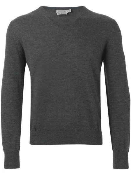 Кашемировый серый свитер с V-образным вырезом Fashion Clinic Timeless
