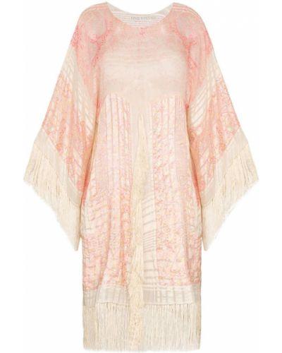 Розовое платье мини с бахромой винтажное One Vintage