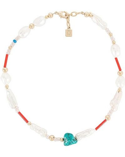 Złoty naszyjnik perły turkusowy Dannijo