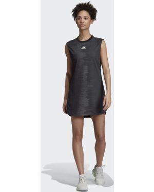 Облегающее черное спортивное теннисное облегающее платье Adidas