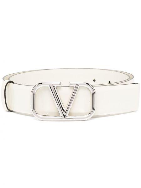 Кожаный белый ремень с пряжкой Valentino Garavani