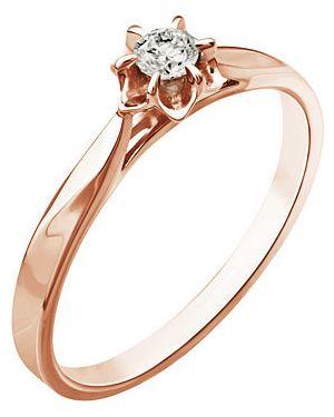 Кольцо из золота с бриллиантом уральский ювелирный завод