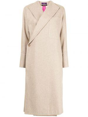 Шерстяное бежевое длинное пальто с карманами Y's