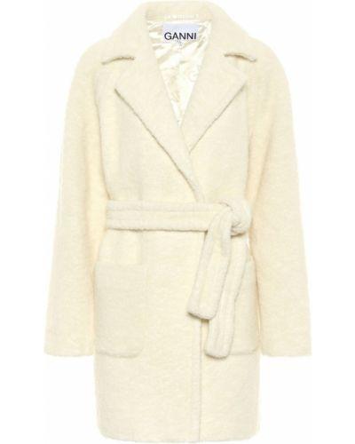 Шерстяное белое пальто Ganni