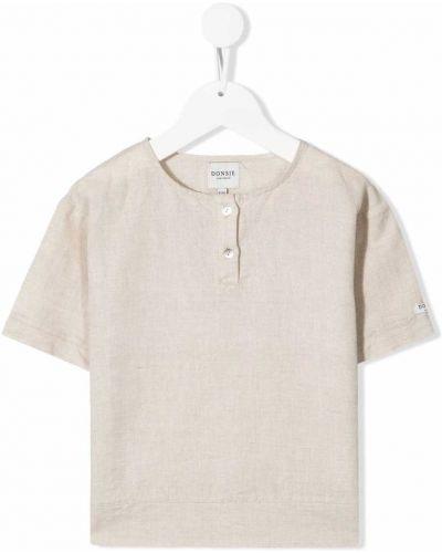Beżowy t-shirt krótki rękaw bawełniany Donsje